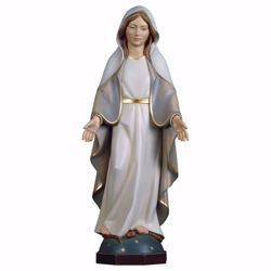 Picture of Miraculous Virgin Mary cm 18 (7,1 inch) wooden Statue Modern Style oil colours Val Gardena