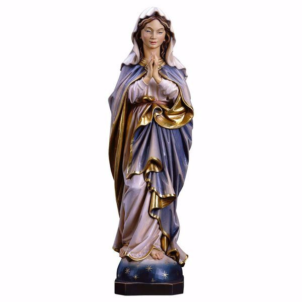 Picture of Immaculate Virgin Mary praying cm 30 (11,8 inch) wooden Statue oil colours Val Gardena