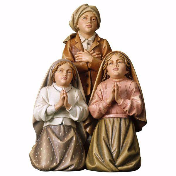 Immagine di Gruppo 3 Pastorelli di Fatima cm 13 (5,1 inch) Statua dipinta ad olio in legno Val Gardena