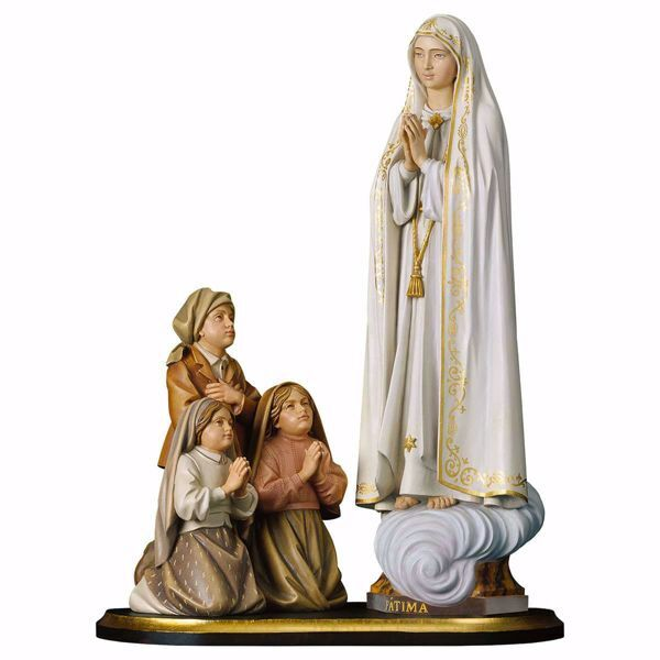 Picture of Apparition Group Our Lady Madonna of Fatima Capelinha cm 18,5 (7,3 inch) wooden Statue oil colours Val Gardena