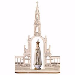 Picture of Our Lady Madonna of Fatima with Crown and Basilica cm 20x13 (7,9x5,1 inch) wooden Statue oil colours Val Gardena