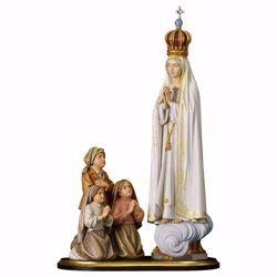 Picture of Apparition Group Our Lady Madonna of Fatima Capelinha with Crown cm 21,5 (8,5 inch) wooden Statue oil colours Val Gardena