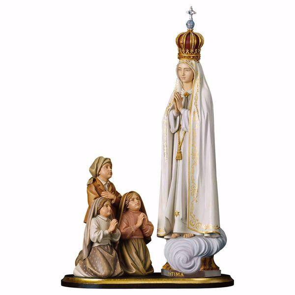 Immagine di Gruppo Apparizione Madonna di Fatima Capelinha con corona cm 36 (14,2 inch) Statua dipinta ad olio in legno Val Gardena