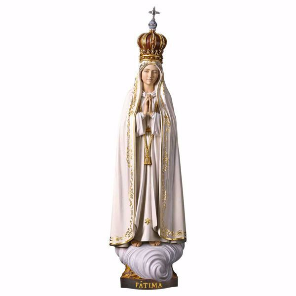 Immagine di Madonna di Fatima Capelinha con corona cm 42 (16,5 inch) Statua dipinta ad olio in legno Val Gardena