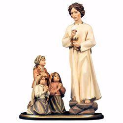 Imagen de Grupo Aparición 3 Pastorcitos de Fátima y Ángel de la Paz de Portugal cm 74 (29,1 inch) Estatua pintada al óleo madera Val Gardena