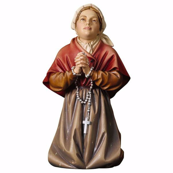 Imagen de Santa Bernadette Soubirous Lourdes cm 13 (5,1 inch) Estatua pintada al óleo madera Val Gardena