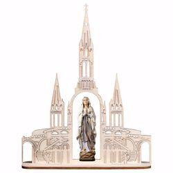 Imagen de Madonna Nuestra Señora de Lourdes con Basílica cm 20x16 (7,9x6,3 inch) Estatua pintada al óleo madera Val Gardena