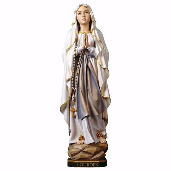 Immagine di Madonna Nostra Signora di Lourdes cm 23 (9,1 inch) Statua dipinta ad olio in legno Val Gardena