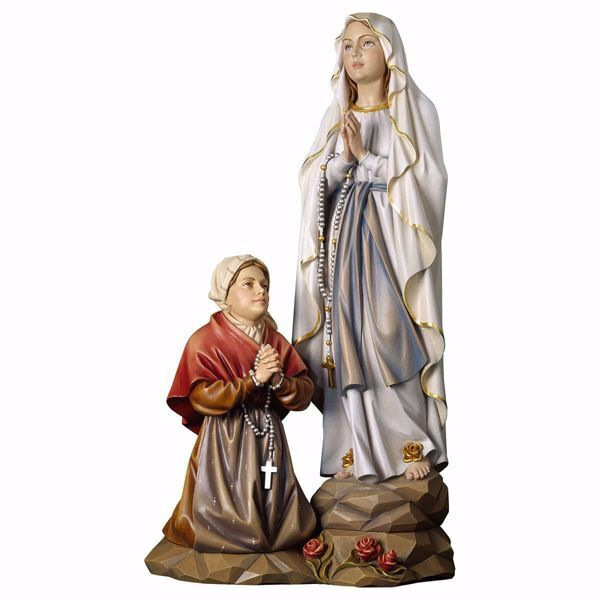 Immagine di Gruppo Apparizione Madonna di Lourdes cm 31 (12,2 inch) Statua dipinta ad olio in legno Val Gardena