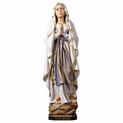 Imagen de Madonna Nuestra Señora de Lourdes cm 35 (13,8 inch) Estatua pintada al óleo madera Val Gardena