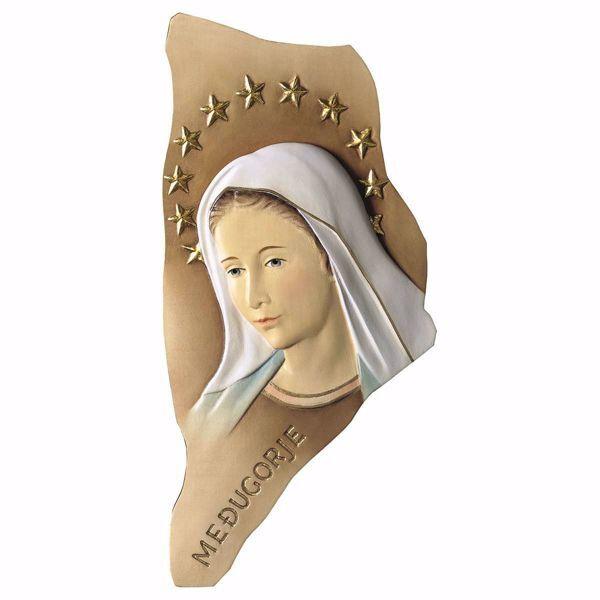 Imagen de Bajorrelieve Madonna Nuestra Señora de Medjugorje con Aureola cm 12 (4,7 inch) Estatua pintada al óleo madera Val Gardena
