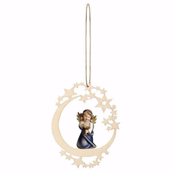 Immagine di Angelo Custode con calice Cornice a Luna Diam. cm 12 (4,7 inch) Decorazione Albero Natale dipinta ad olio in legno Val Gardena