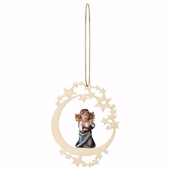 Immagine di Angelo Custode con candela Cornice a Luna Diam. cm 12 (4,7 inch) Decorazione Albero Natale dipinta ad olio in legno Val Gardena