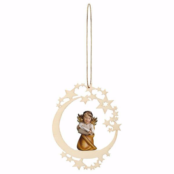 Picture of Guardian Angel with notes and Moon Frame Diam. cm 12 (4,7 inch) Christmas Tree wooden Decoration painted with oil colours Val Gardena
