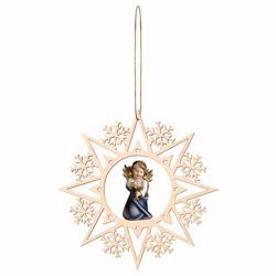 Picture of Guardian Angel with chalice and Snow Flakes Frame Diam. cm 15 (5,9 inch) Christmas Tree wooden Decoration painted with oil colours Val Gardena
