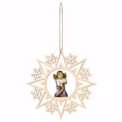 Picture of Guardian Angel with Bells and Snow Flakes Frame Diam. cm 15 (5,9 inch) Christmas Tree wooden Decoration painted with oil colours Val Gardena