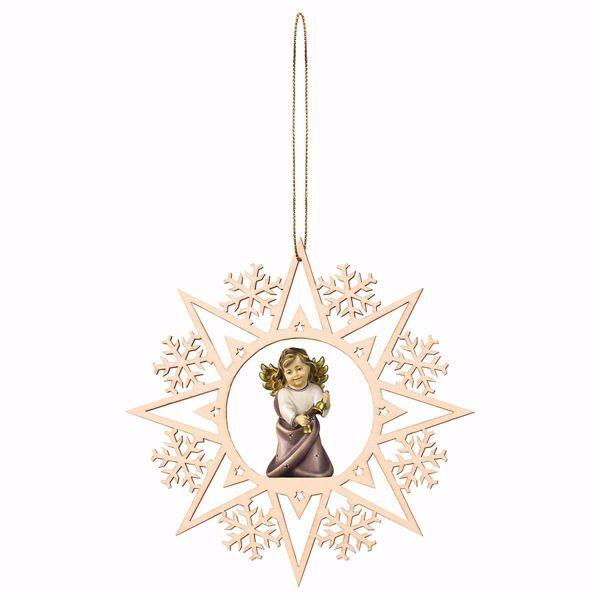 Imagen de Ángel de la Guarda con cascabeles y Marco Copos de Nieve Diam. cm 15 (5,9 inch) Decoración Árbol de Navidad pintada al óleo en madera Val Gardena