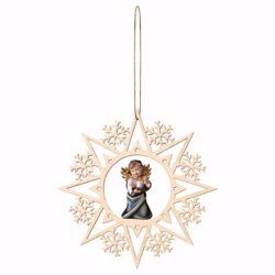 Picture of Guardian Angel with candle and Snow Flakes Frame Diam. cm 15 (5,9 inch) Christmas Tree wooden Decoration painted with oil colours Val Gardena