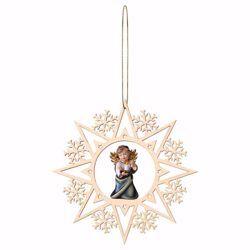 Immagine di Angelo Custode con candela Cornice Fiocchi di Neve Diam. cm 15 (5,9 inch) Decorazione Albero Natale dipinta ad olio in legno Val Gardena