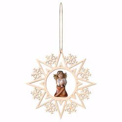 Imagen de Ángel de la Guarda con paloma y Marco Copos de Nieve Diam. cm 15 (5,9 inch) Decoración Árbol de Navidad pintada al óleo en madera Val Gardena