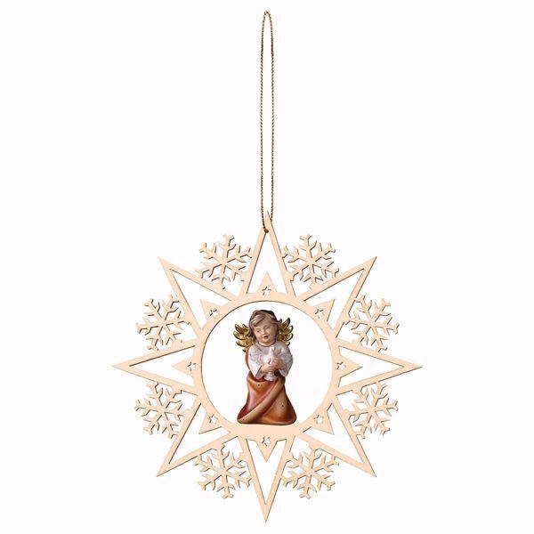 Immagine di Angelo Custode con colomba Cornice Fiocchi di Neve Diam. cm 15 (5,9 inch) Decorazione Albero Natale dipinta ad olio in legno Val Gardena