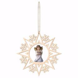 Picture of Guardian Angel with heart and Snow Flakes Frame Diam. cm 15 (5,9 inch) Christmas Tree wooden Decoration painted with oil colours Val Gardena