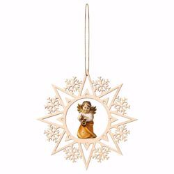 Picture of Guardian Angel with lantern and Snow Flakes Frame Diam. cm 15 (5,9 inch) Christmas Tree wooden Decoration painted with oil colours Val Gardena