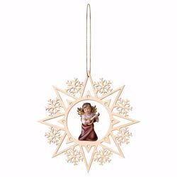 Picture of Guardian Angel with lute and Snow Flakes Frame Diam. cm 15 (5,9 inch) Christmas Tree wooden Decoration painted with oil colours Val Gardena
