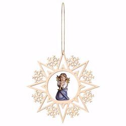 Picture of Guardian Angel with trombone and Snow Flakes Frame Diam. cm 15 (5,9 inch) Christmas Tree wooden Decoration painted with oil colours Val Gardena