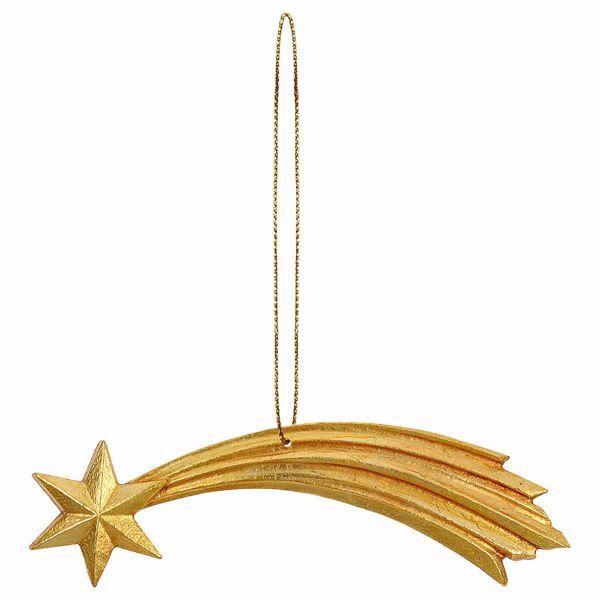 Imagen de Estrella Cometa con hilo de oro para Presebre Ulrich cm 15 (5,9 inch) Decoración Árbol de Navidad pintada al óleo en madera Val Gardena