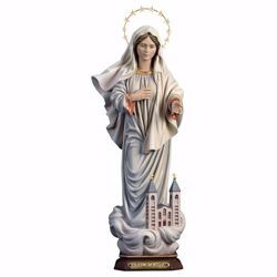 Picture of Kraljice Mira Our Lady Madonna of Medjugorje Queen of Peace with Church Halo cm 23 (9,1 inch) wooden Statue painted oil colours Val Gardena