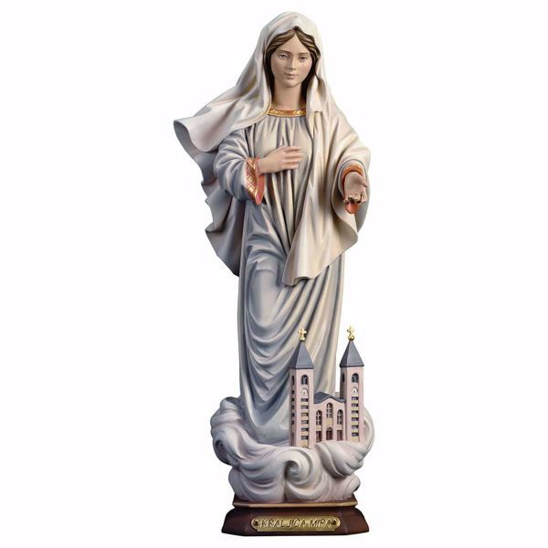 Picture of Kraljice Mira Our Lady Madonna of Medjugorje Queen of Peace with Church cm 30 (11,8 inch) wooden Statue oil colours Val Gardena