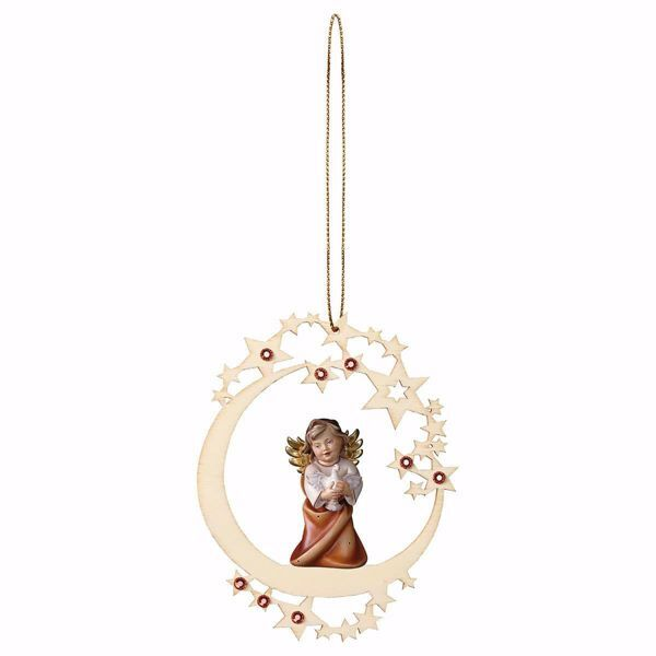 Picture of Guardian Angel with dove Moon Frame and coloured Stones Diam. cm 12 (4,7 inch) Christmas Tree wooden Decoration painted with oil colours Val Gardena