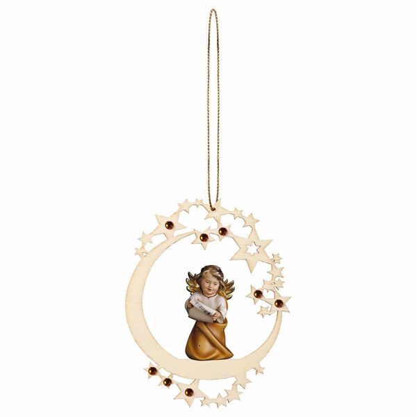 Picture of Guardian Angel with notes Moon Frame and coloured Stones Diam. cm 12 (4,7 inch) Christmas Tree wooden Decoration painted with oil colours Val Gardena