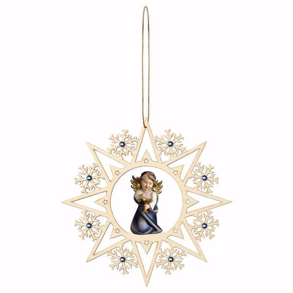 Picture of Guardian Angel with chalice Snow Flakes Frame and coloured Stones Diam. cm 15 (5,9 inch) Christmas Tree wooden Decoration painted with oil colours Val Gardena