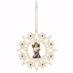 Picture of Guardian Angel with Bells Snow Flakes Frame and coloured Stones Diam. cm 15 (5,9 inch) Christmas Tree wooden Decoration painted with oil colours Val Gardena