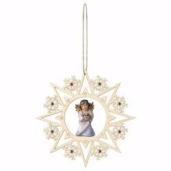 Picture of Guardian Angel with heart Snow Flakes Frame and coloured Stones Diam. cm 15 (5,9 inch) Christmas Tree wooden Decoration painted with oil colours Val Gardena