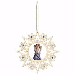 Picture of Guardian Angel with trombone Snow Flakes Frame and coloured Stones Diam. cm 15 (5,9 inch) Christmas Tree wooden Decoration painted with oil colours Val Gardena