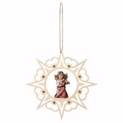 Picture of Guardian Angel with violin Hearts Frame and coloured Stones Diam. cm 15 (5,9 inch) Christmas Tree wooden Decoration painted with oil colours Val Gardena