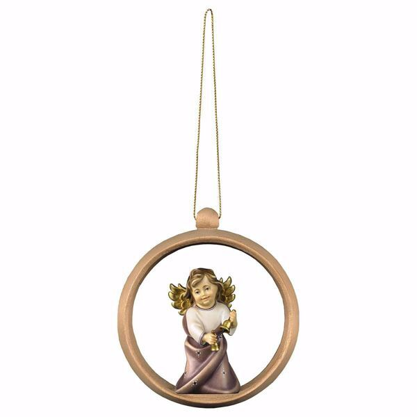 Picture of Guardian Angel with Bells and Ring Frame Diam. cm 10 (3,9 inch) Christmas Tree wooden Decoration painted with oil colours Val Gardena