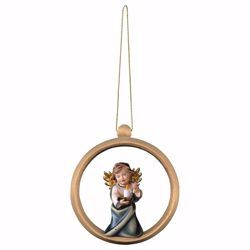 Picture of Guardian Angel with candle and Ring Frame Diam. cm 10 (3,9 inch) Christmas Tree wooden Decoration painted with oil colours Val Gardena
