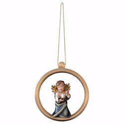 Immagine di Angelo Custode con candela Cornice ad Anello Diam. cm 10 (3,9 inch) Decorazione Albero Natale dipinta ad olio in legno Val Gardena