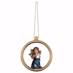 Picture of Guardian Angel with horn and Ring Frame Diam. cm 10 (3,9 inch) Christmas Tree wooden Decoration painted with oil colours Val Gardena