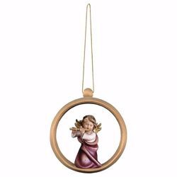 Picture of Guardian Angel with flute and Ring Frame Diam. cm 10 (3,9 inch) Christmas Tree wooden Decoration painted with oil colours Val Gardena