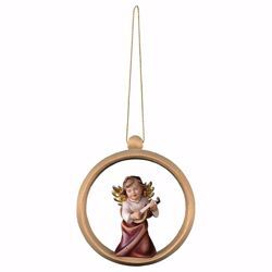 Picture of Guardian Angel with lute and Ring Frame Diam. cm 10 (3,9 inch) Christmas Tree wooden Decoration painted with oil colours Val Gardena