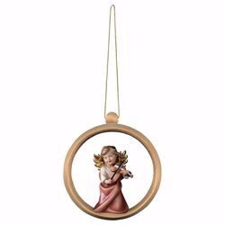 Picture of Guardian Angel with violin and Ring Frame Diam. cm 10 (3,9 inch) Christmas Tree wooden Decoration painted with oil colours Val Gardena