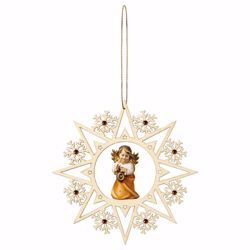 Picture of Guardian Angel with lantern Snow Flakes Frame and coloured Stones Diam. cm 15 (5,9 inch) Christmas Tree wooden Decoration painted with oil colours Val Gardena