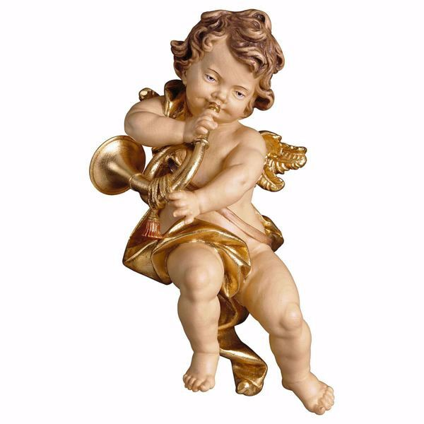 Picture of Putto Cherub Angel with horn cm 10 (3,9 inch) Val Gardena wooden Sculpture painted with oil colours