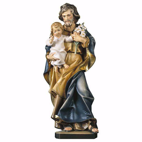 Immagine di Statua San Giuseppe con bambino e giglio cm 10 (3,9 inch) dipinta ad olio in legno Val Gardena