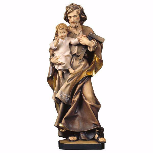Immagine di Statua San Giuseppe con bambino e squadra cm 10 (3,9 inch) dipinta ad olio in legno Val Gardena